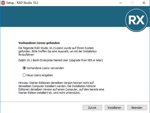 Alte Lizenz aktiviert neue Delphi Version • Developer Experts